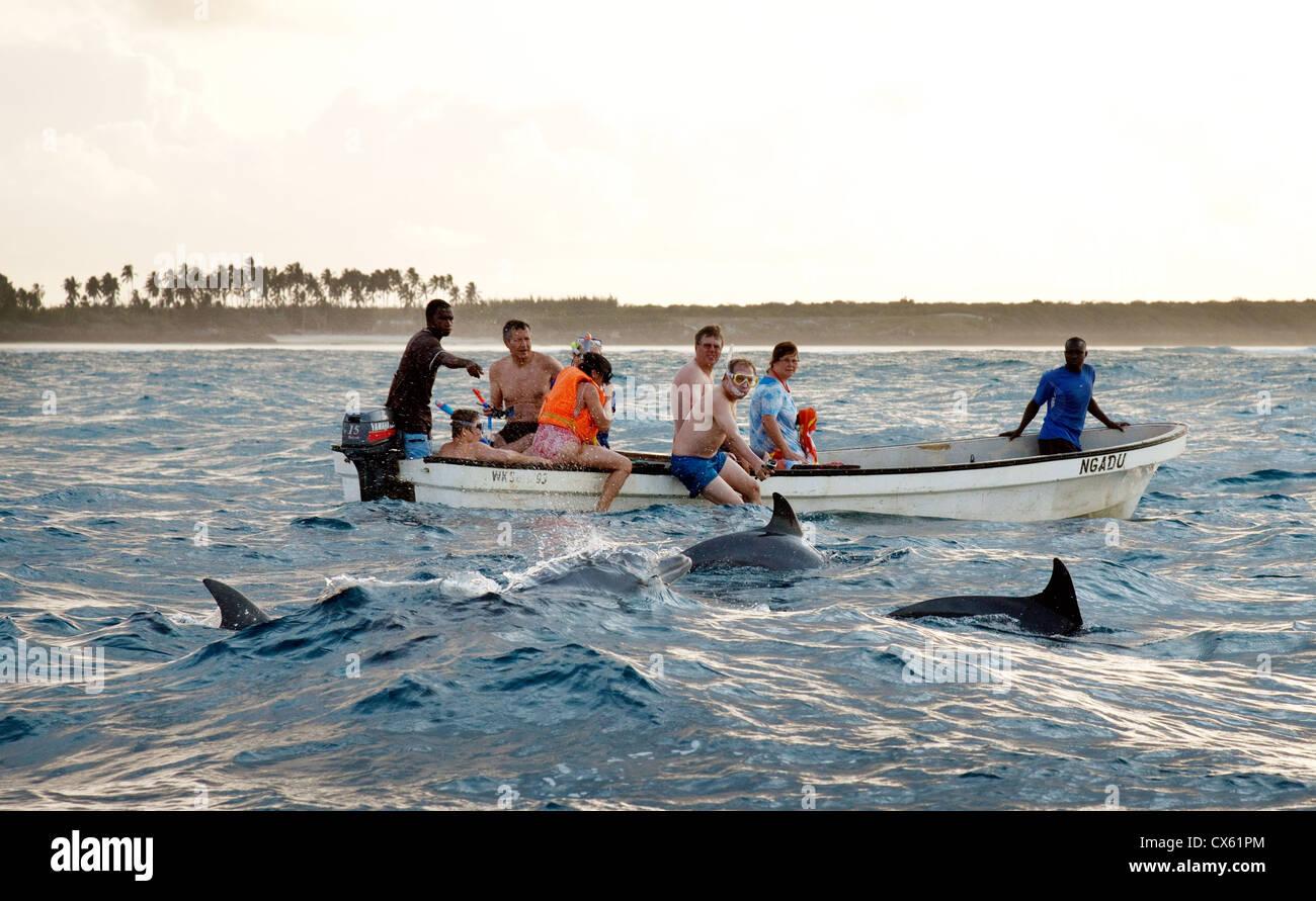 Tourists going swimming with dolphins in the Indian Ocean, Kizimkazi, Zanzibar africa - Stock Image