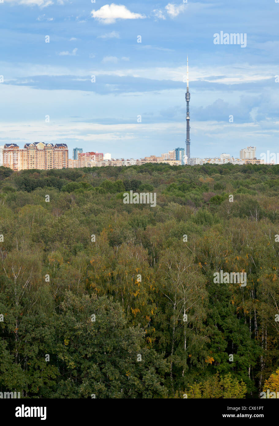 autumn urban park under blue sky - Stock Image