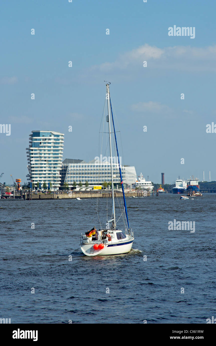 Marco Polo Tower and Unilever House, harbour, Hamburg, Germany - Stock Image