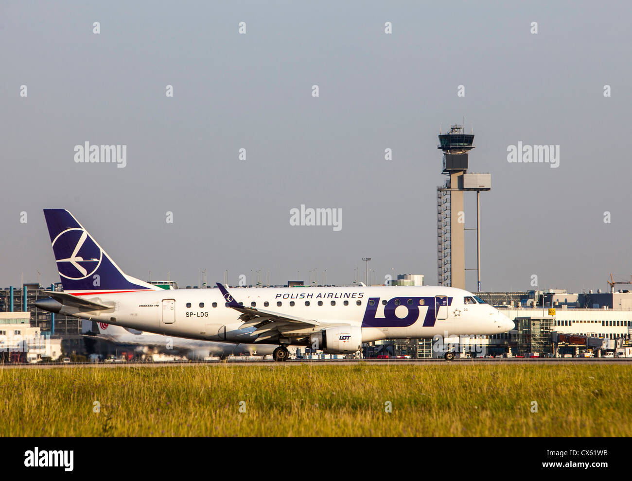 Air planes at Düsseldorf International Airport. Germany, Europe. Polish LOT. - Stock Image