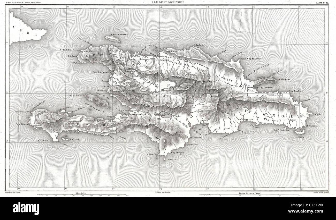 1859 Dufour Map of Hispaniola or Santo Domingo, West Indies (Haiti, Dominican Republic) - Stock Image