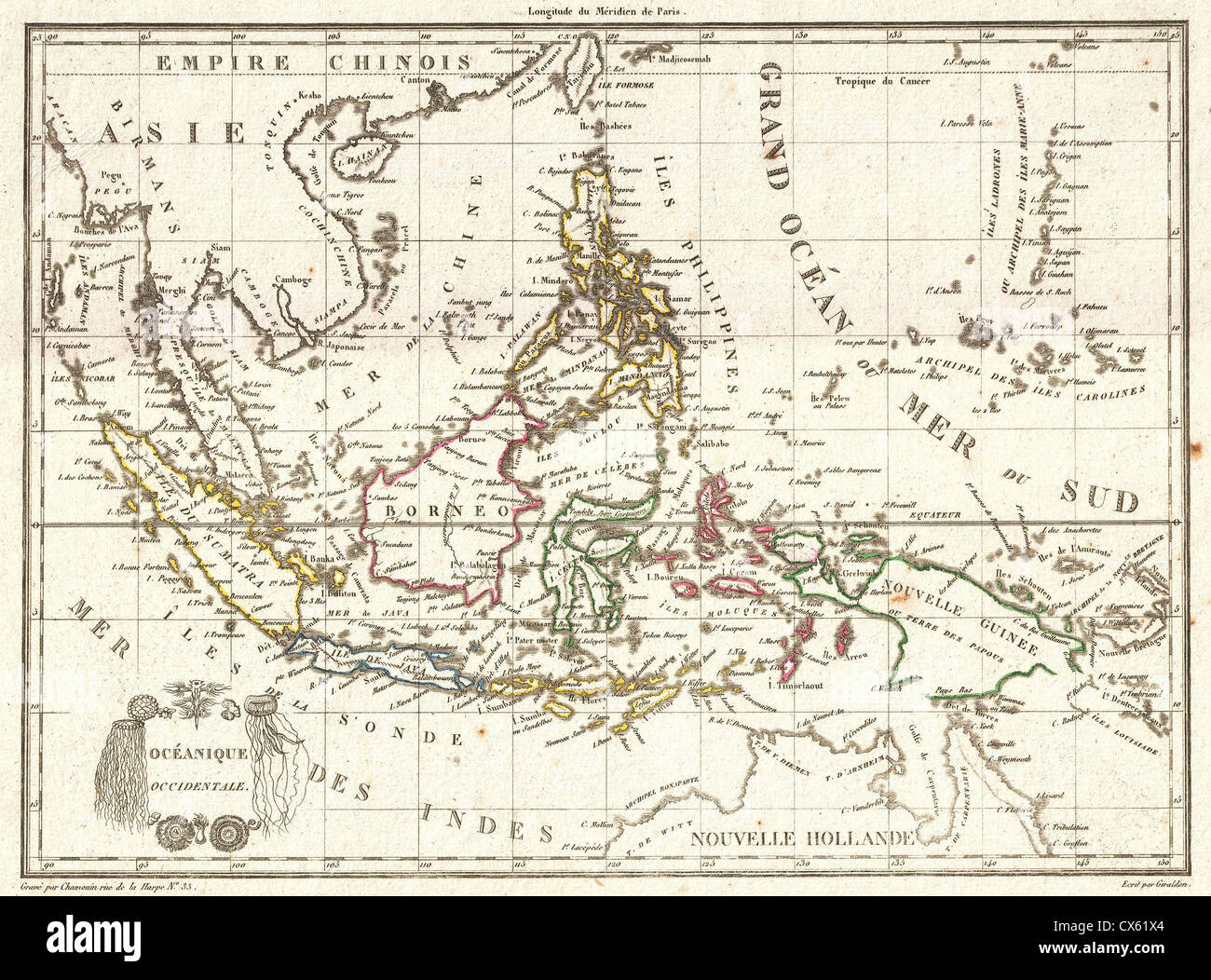 1810 Tardieu Map of the East Indies, Singapore, Southeast Asia Stock ...