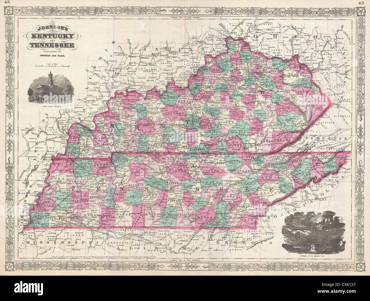 Map Of Kentucky And Tennessee 1866 Johnson Map of Kentucky and Tennessee Stock Photo: 50535023