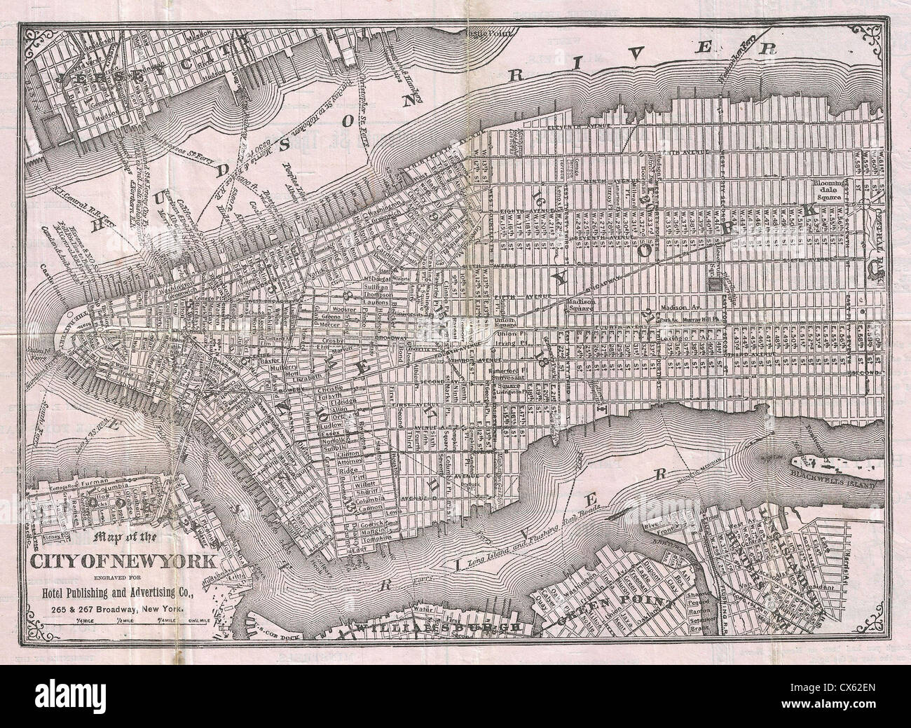 1886 Hotel and Theater Advertising Map of New York City - Stock Image