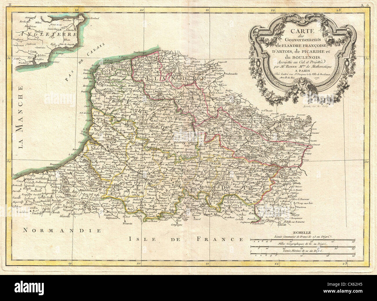 Bonne Map Of Picardy Artois And French Flanders France Stock - Rue france map