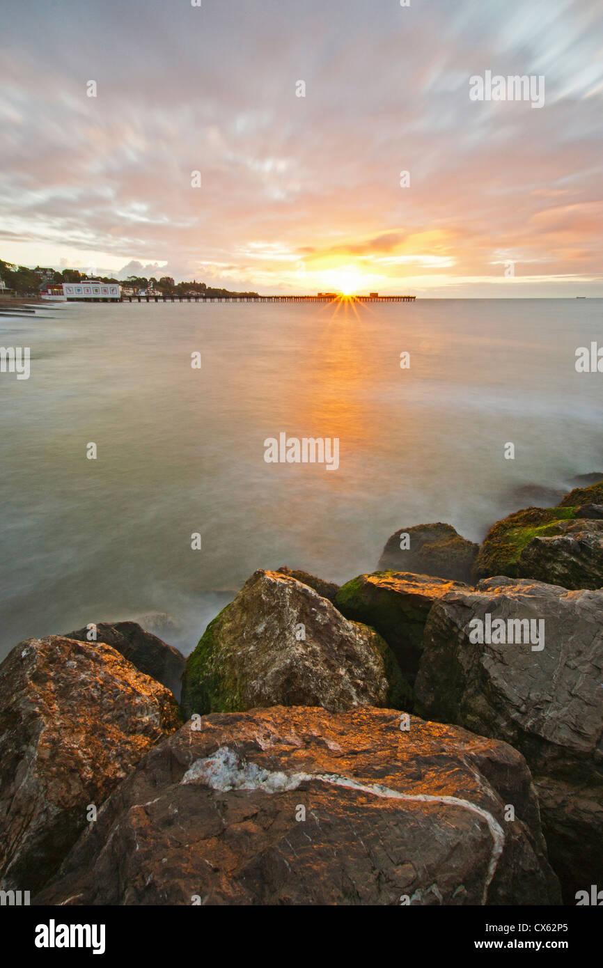 Rocks on beach at Felixstowe - Stock Image