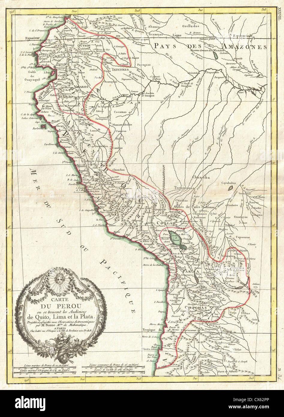 Antique map of ecuador stock photos antique map of ecuador stock 1775 bonne map of peru ecuador bolivia and the western amazon stock gumiabroncs Choice Image