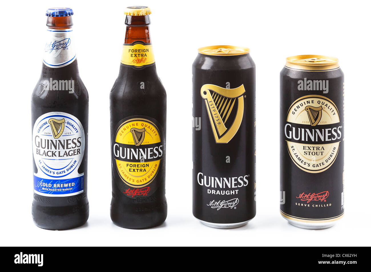Dublin, Ireland - September 12, 2012. This is a studio product shot of Guinness stout/lager produced in Ireland. - Stock Image