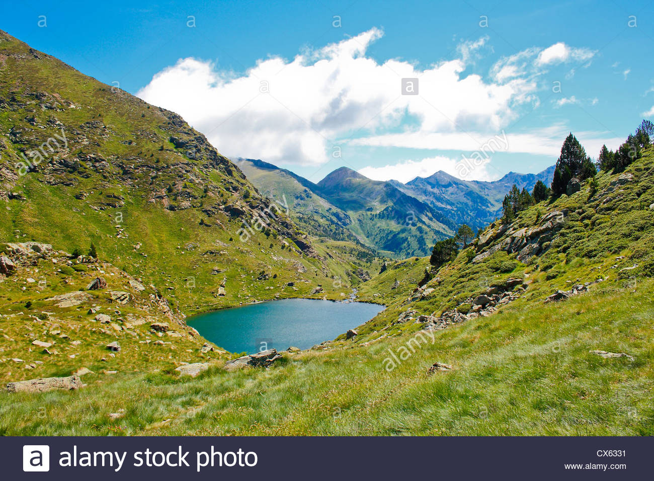 Mountain lake in Andorra, Europe. Pyrenees. - Stock Image