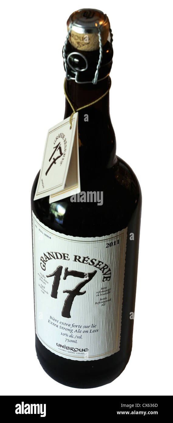 A bottle of expensive 2011 vintage Grande Reserve beer. Like wine, these expensive beers are of a vintage and are - Stock Image