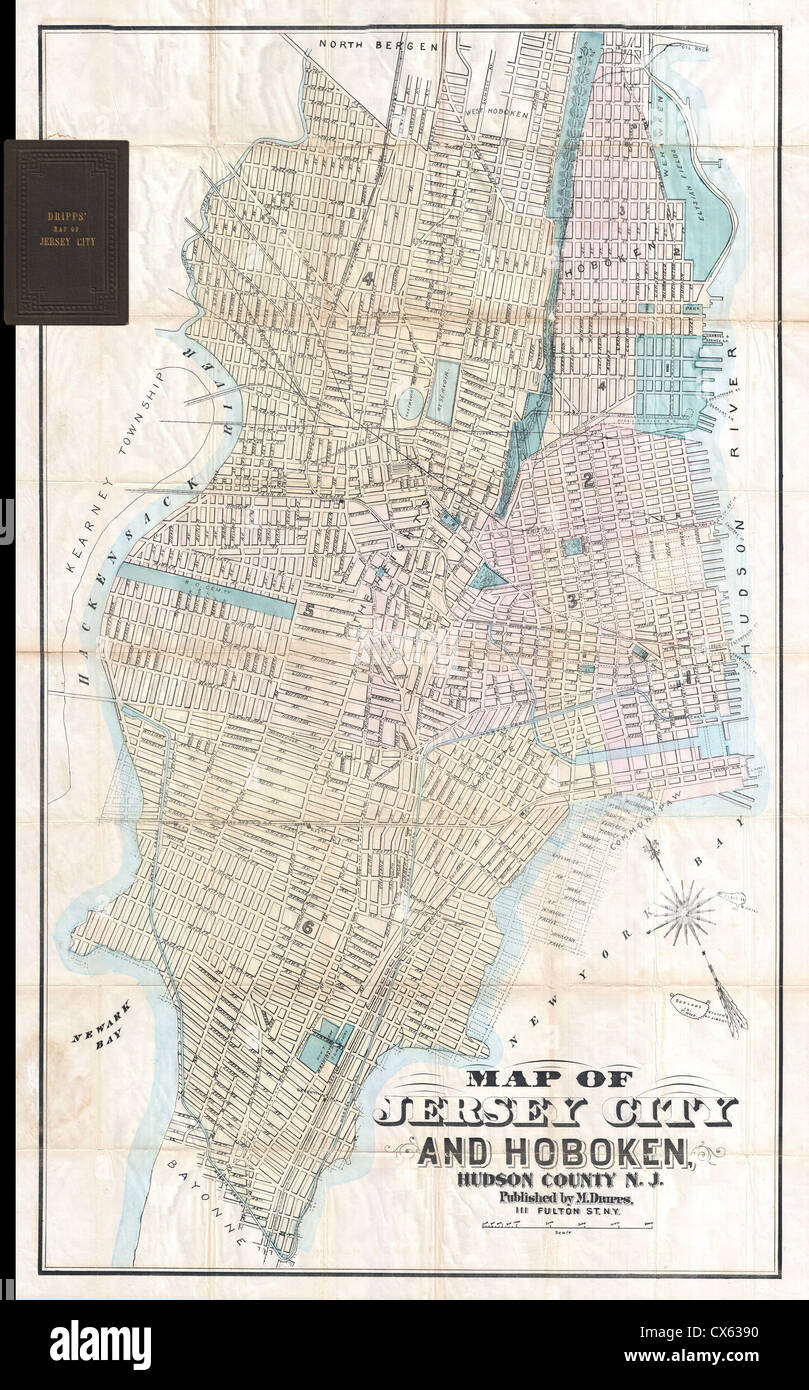 1886 Dripps Map of Hoboken and Jersey City, New Jersey - Stock Image