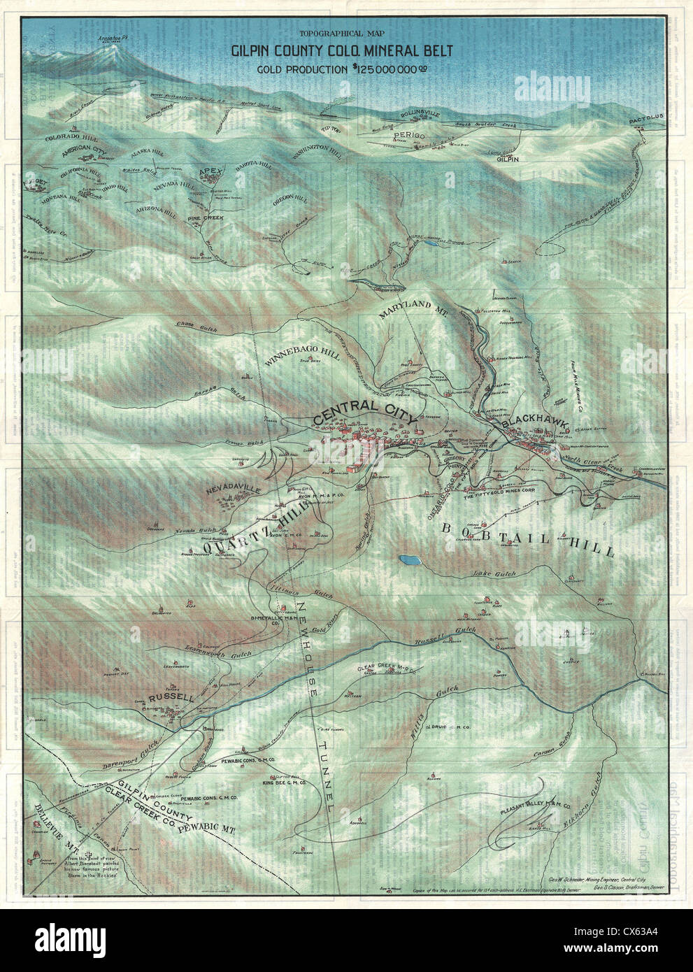 1904 Clason Map or View of the Gilpin Colorado Gold and Mineral Belt - Stock Image