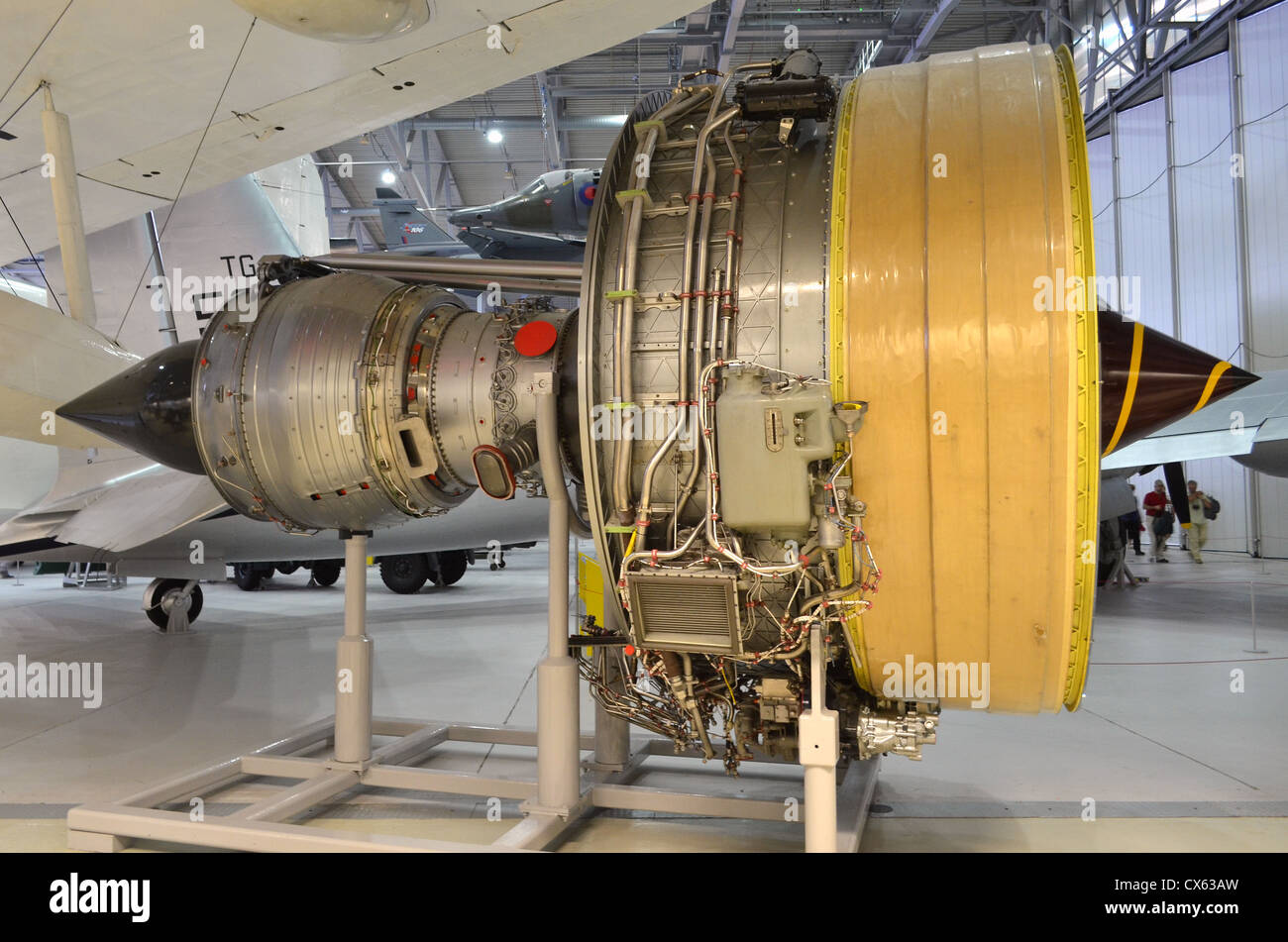 Rolls Royce Trent 800 turbofan engine on display at Duxford Airspace - Stock Image