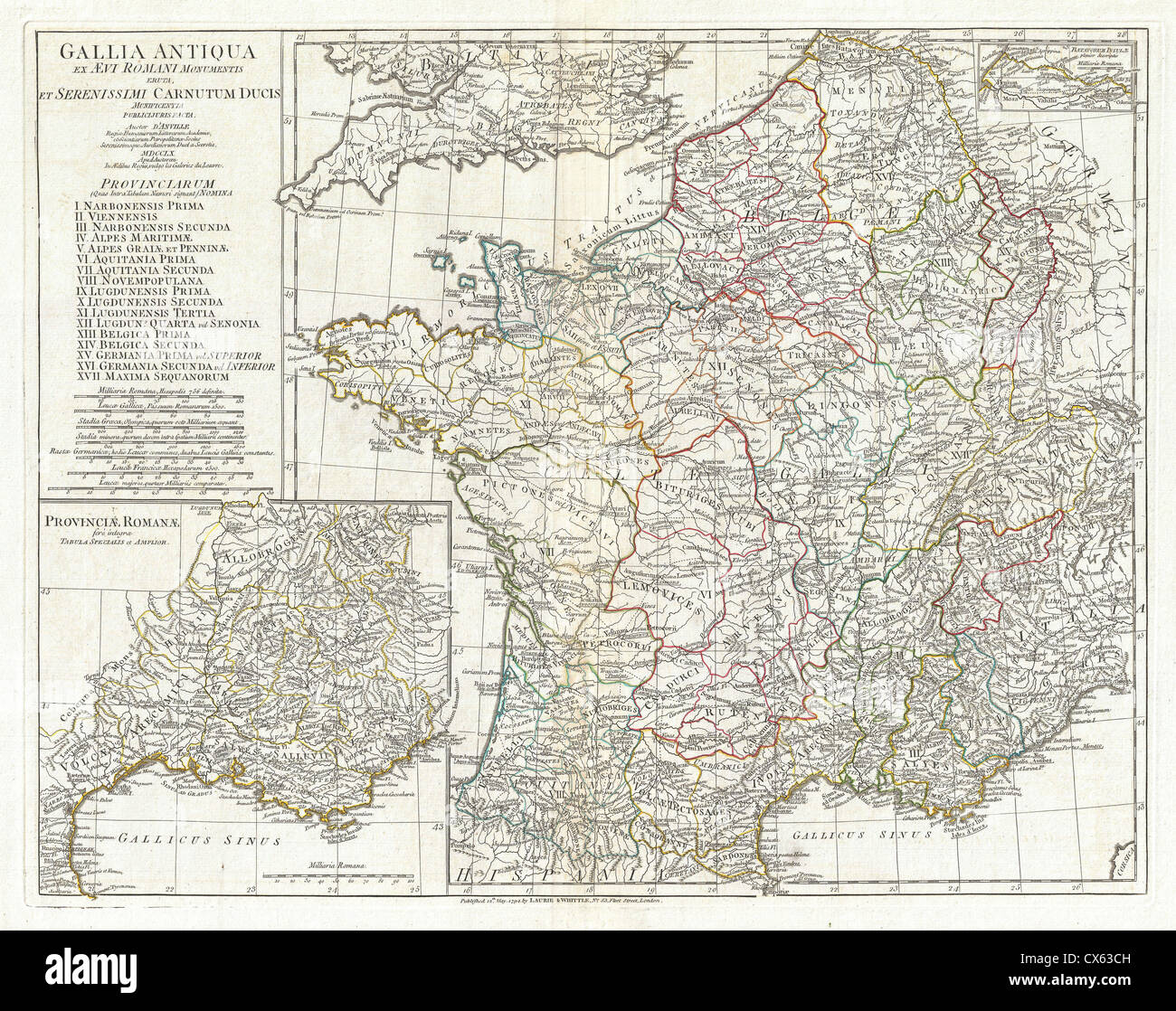1794 Anville Map of Gaul (Gallia) or France in ancient Roman Times - Stock Image