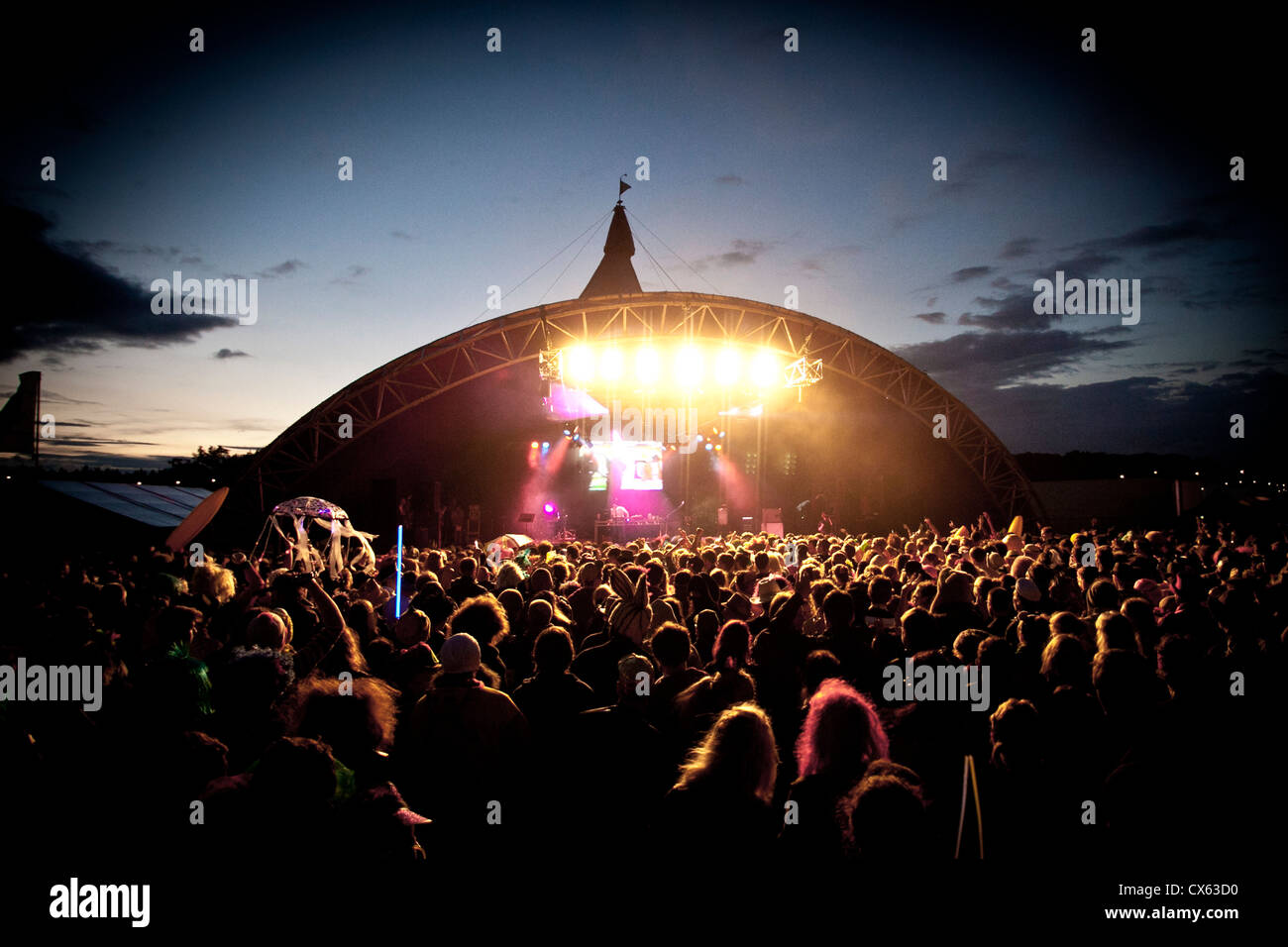 Stage at a Summer Music Festival - Stock Image