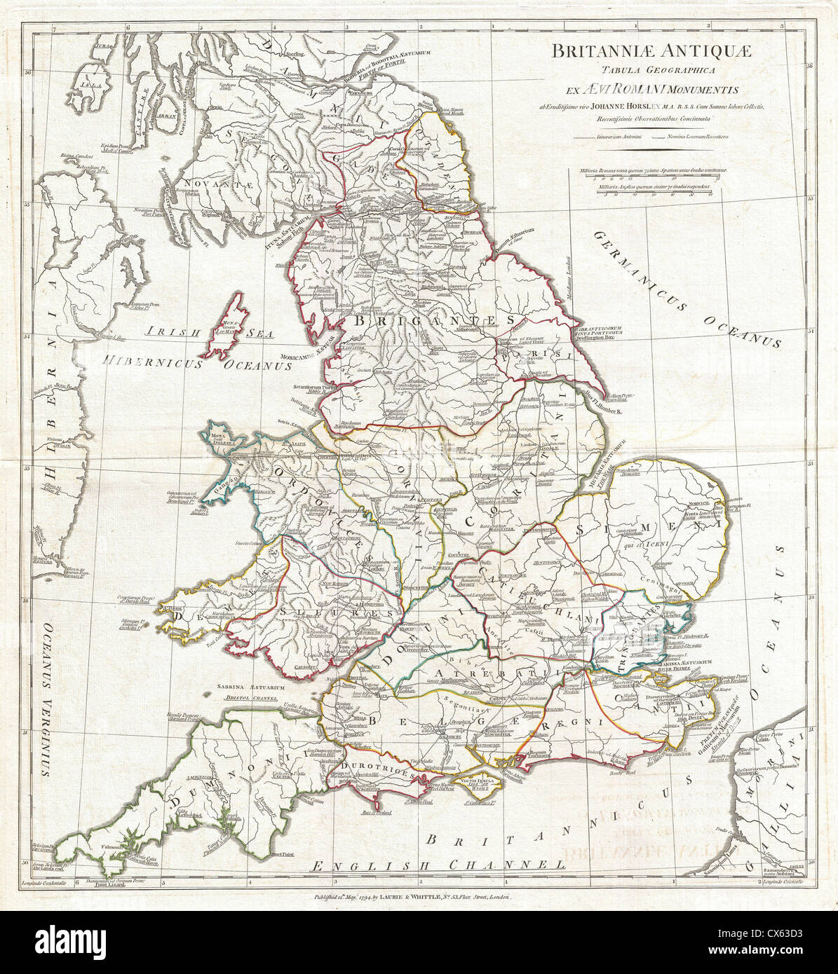 Anville Map Of England In Ancient Roman Times Stock Photos