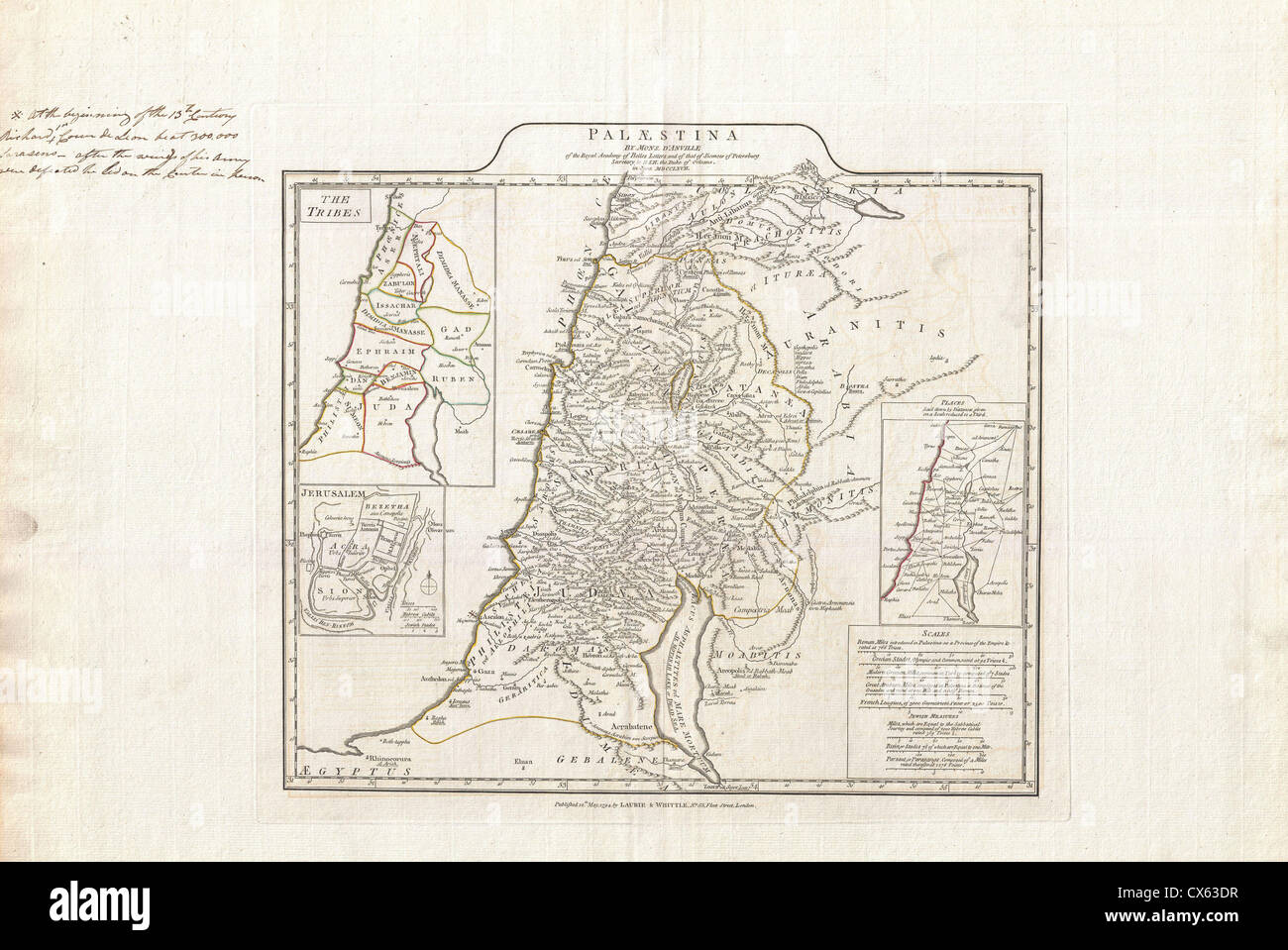 1794 Anville Map of Israel, Palestine or the Holy Land in Ancient Times - Stock Image
