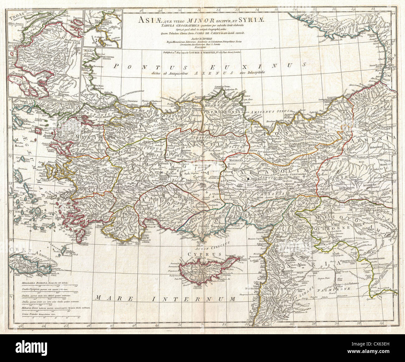 1794 Anville Map of Asia Minor in Antiquity (Turkey,Cyprus, Syria) - Stock Image