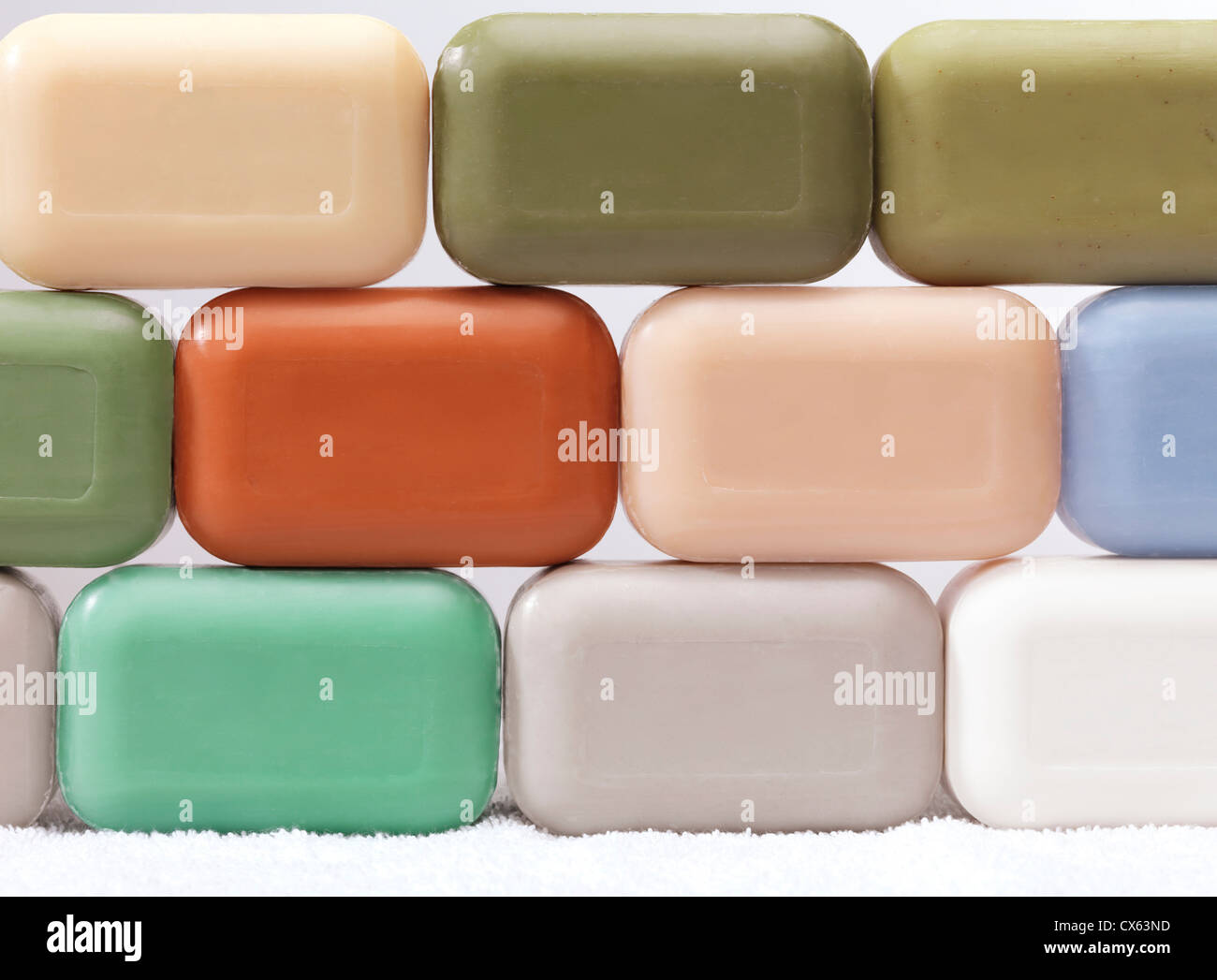 Different soap bars with healthy natural ingredients Stock Photo
