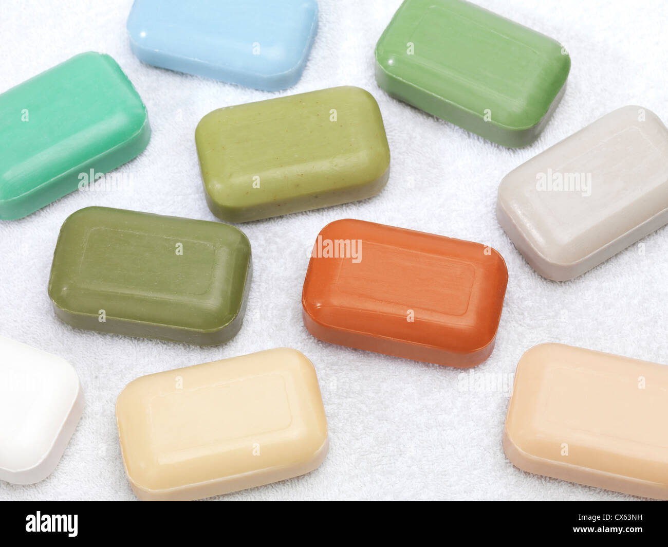 Different color soap bars with healthy natural ingredients - Stock Image