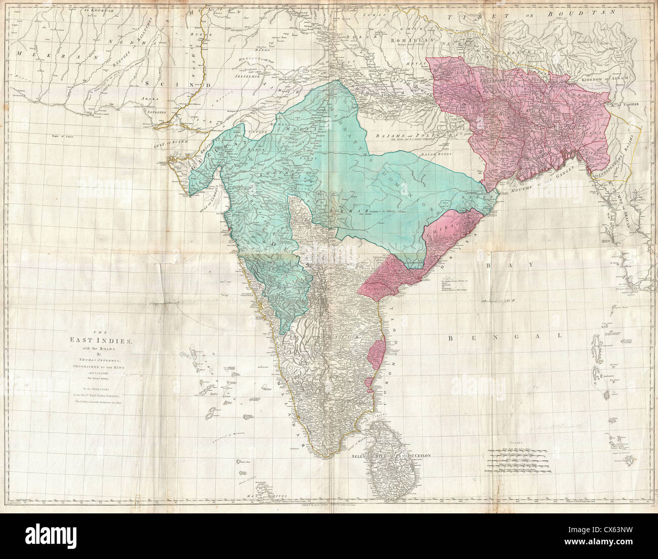 1768 Jeffreys Wall Map of India and Ceylon - Stock Image