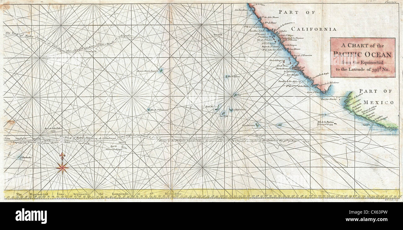 1748 Anson Map of Baja California and the Pacific  Trade Routes from Acapulco to Manila - - Stock Image