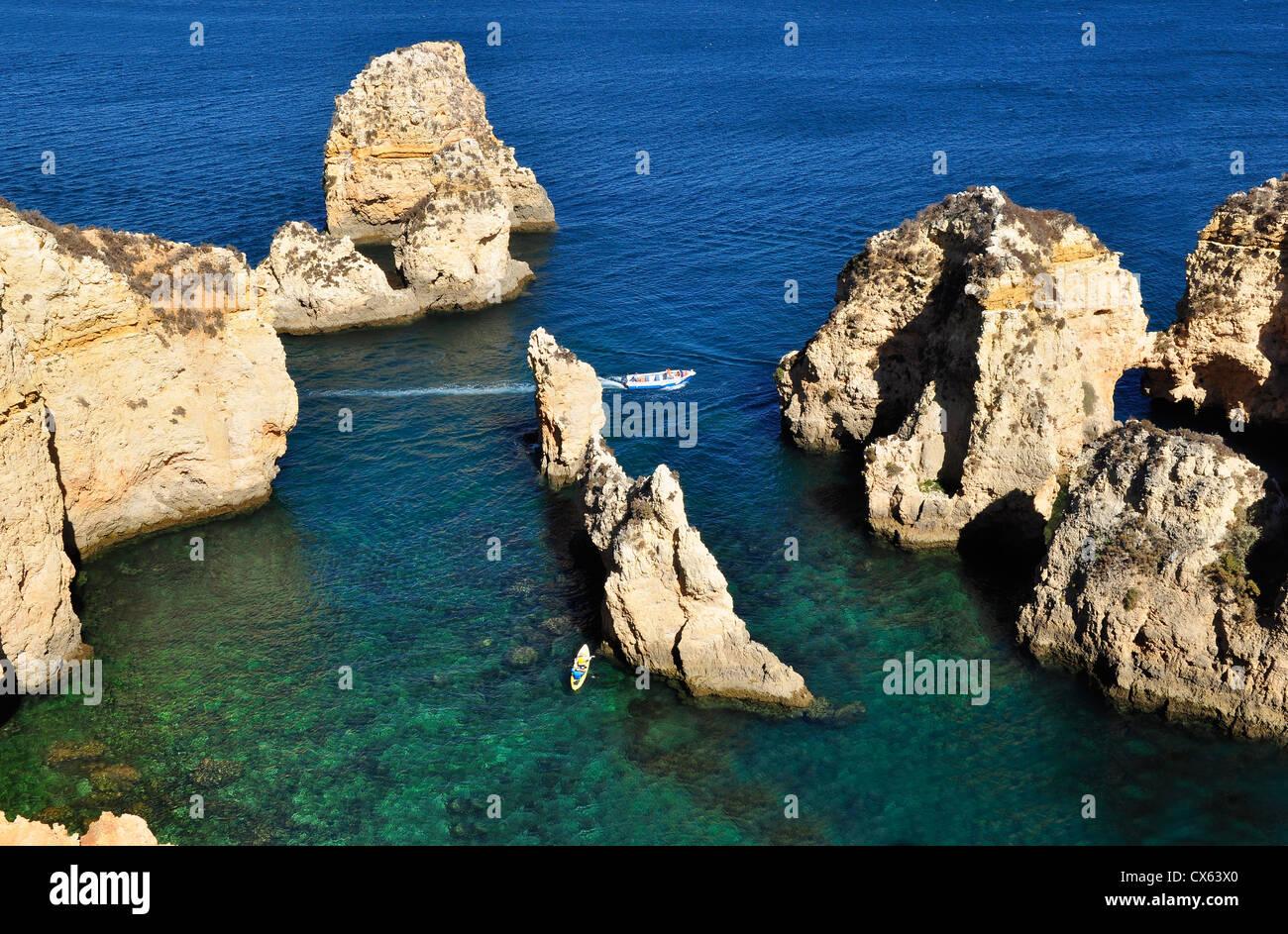 Seascape of Ponta da Piedade in Algarve, Portugal. Stock Photo