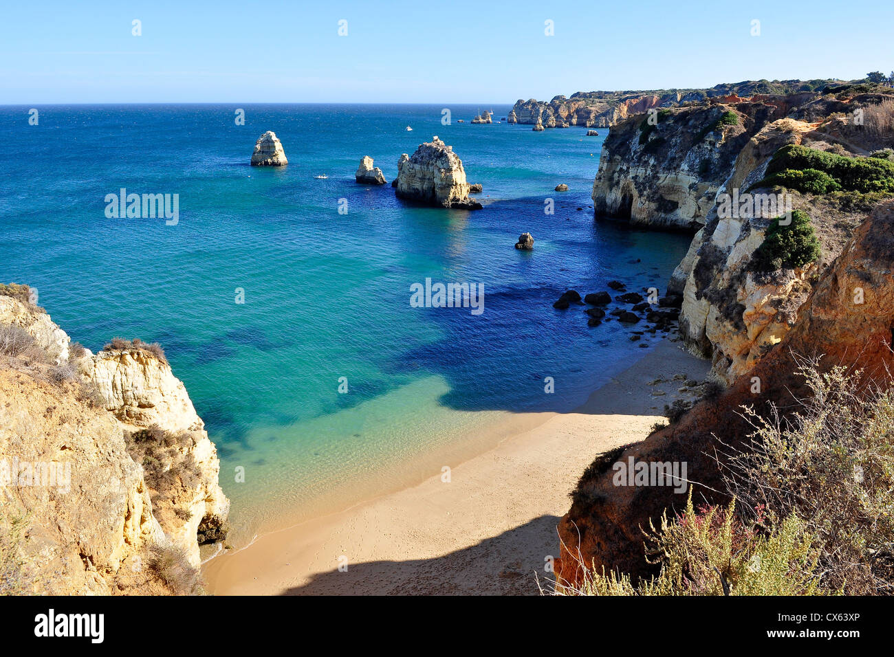 High view of Pinhao Beach in Lagos, Algarve, Portugal Stock Photo
