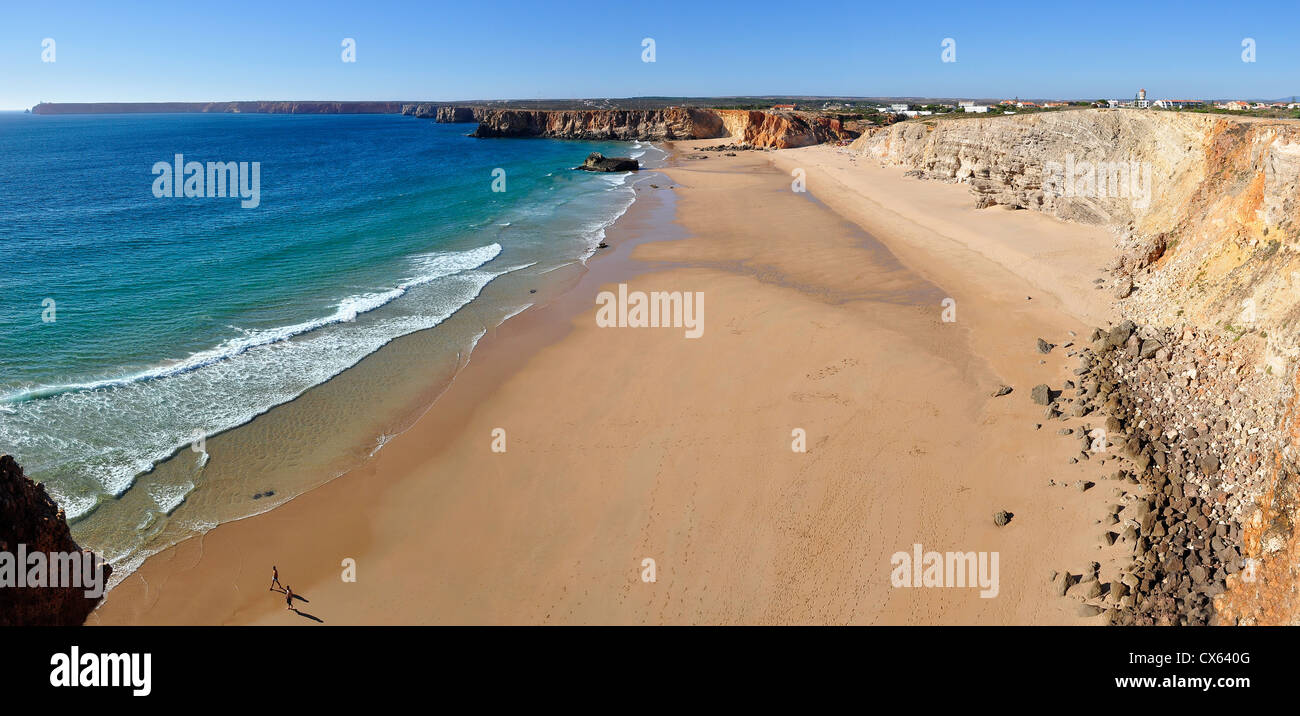 High view of Sagres beach in Algarve, Portugal Stock Photo