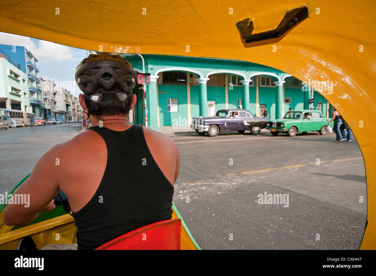 A Yellow Cocotaxi 3 Wheel Scooter Taxi, Habana Vedado, Havana, Cuba, Caribbean - Stock Image