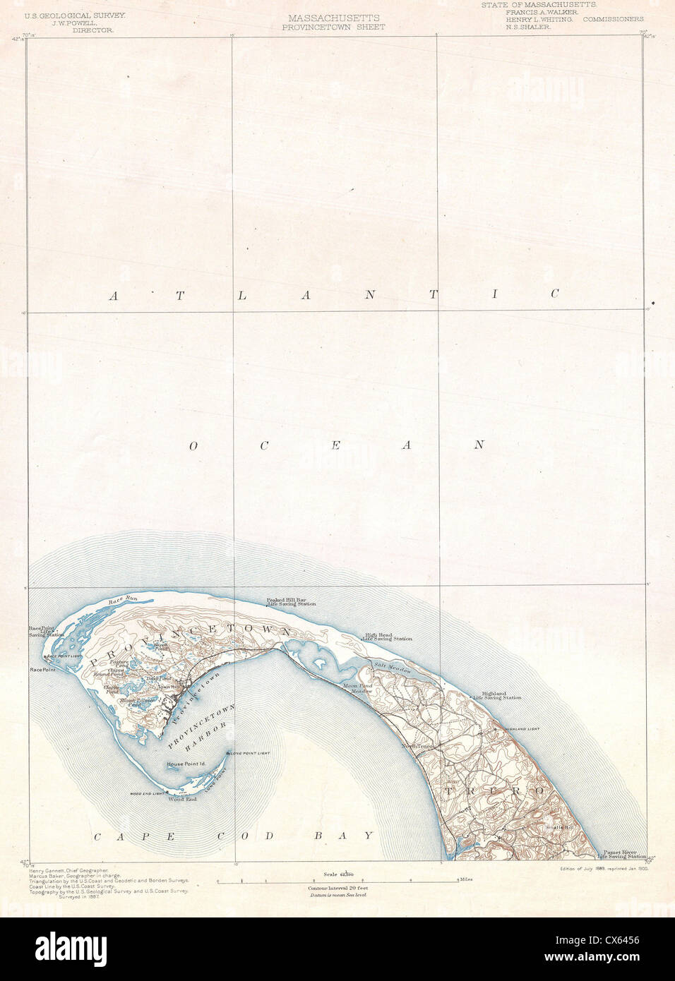 1900 U.S. Geological Survey Map of Provincetown, Cape Cod ...