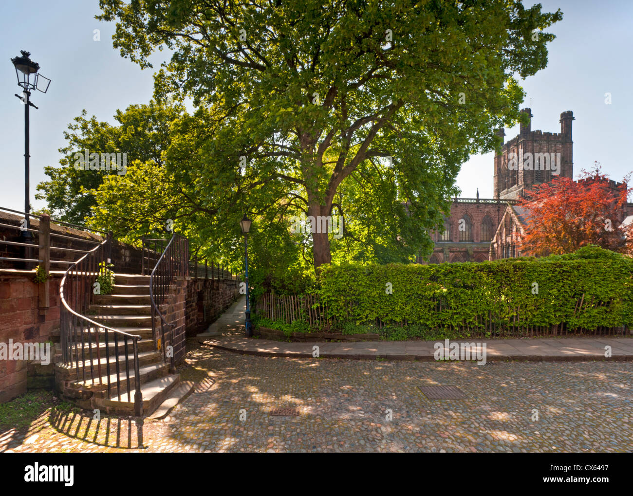 Chester Cathedral & The City Walls, Chester, Cheshire, England, UK - Stock Image