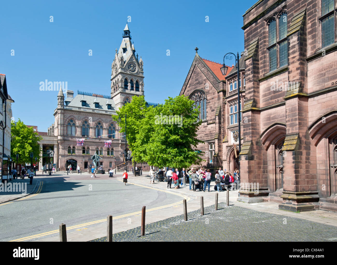 Chester Town Hall and St Werburgh Street, Chester, Cheshire, England, UK - Stock Image