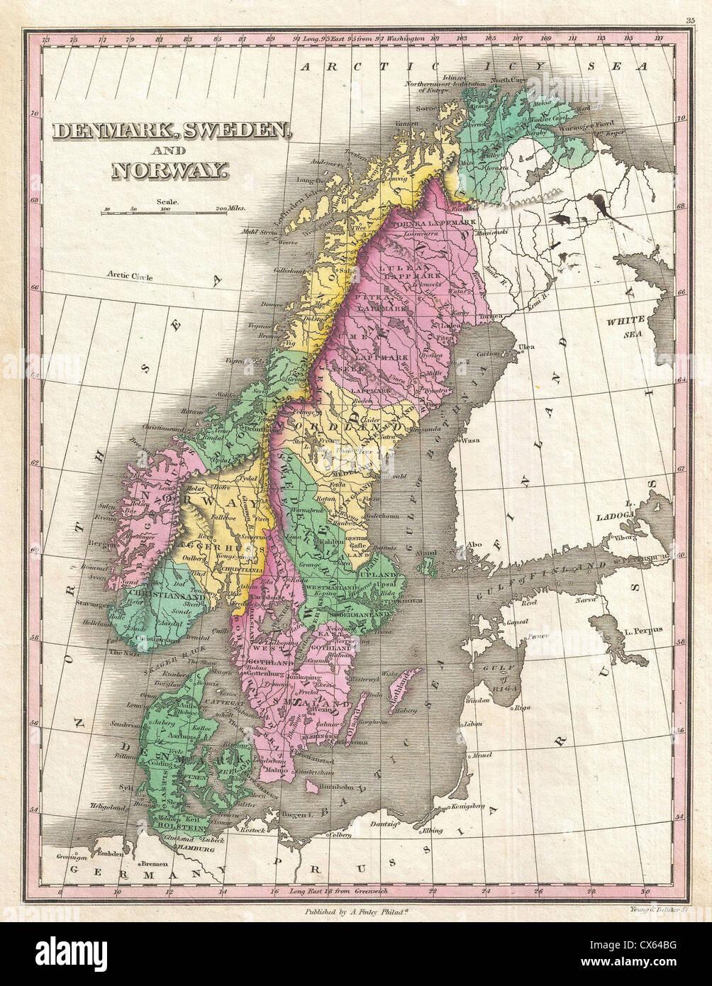 1827 Finley Map of Scandinavia, Norway, Sweden, Denmark - Stock Image