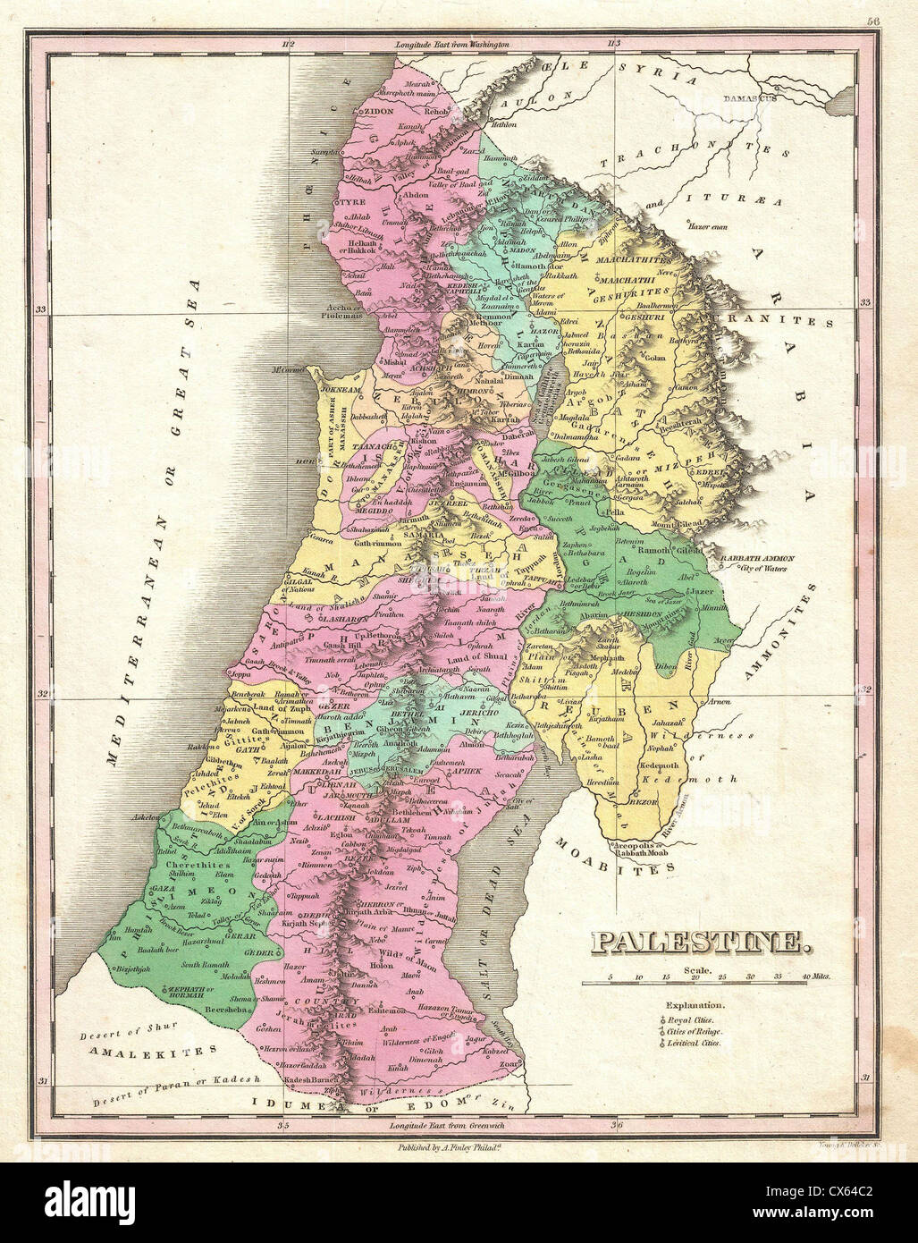 1827 finley map of israel palestine holy land stock photo 1827 finley map of israel palestine holy land gumiabroncs Gallery
