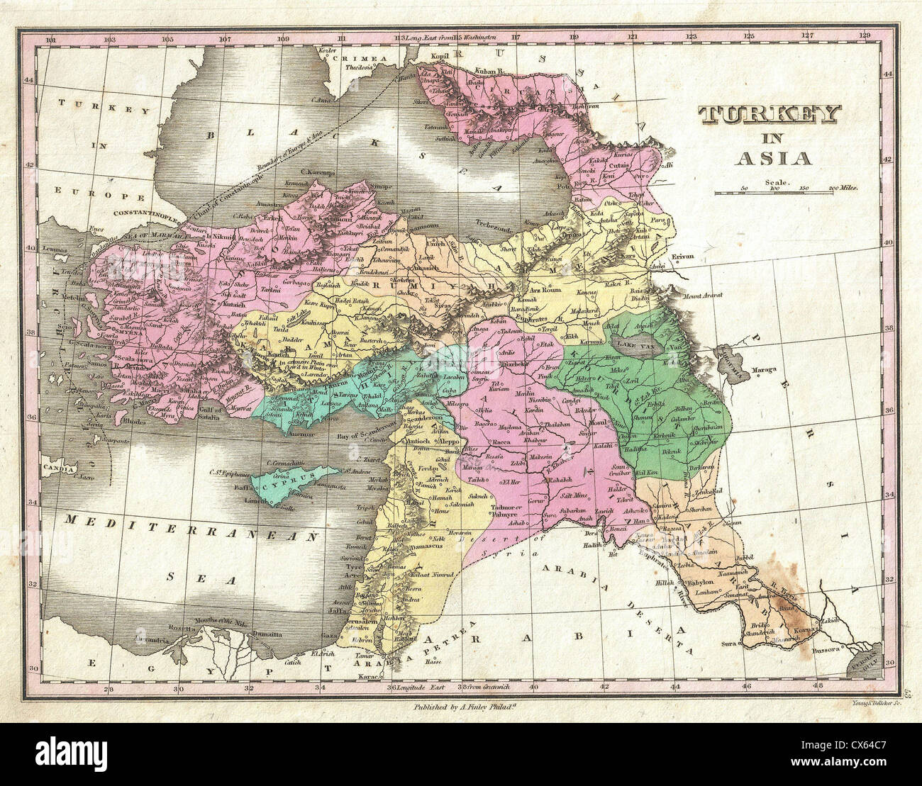 Map Of Asia Israel.1827 Finley Map Of Turkey In Asia Iraq And Israel Palestine Stock