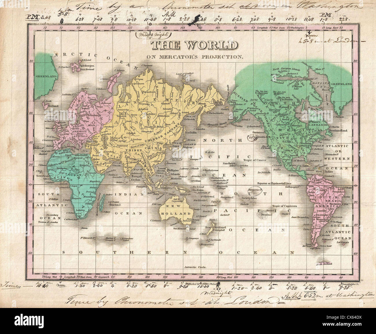 1827 Finley Map of the World on Mercator's Projection - Stock Image