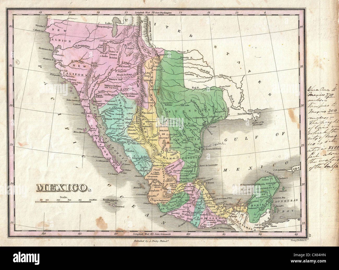1827 Finley Map of Mexico, Upper California and Texas - Stock Image