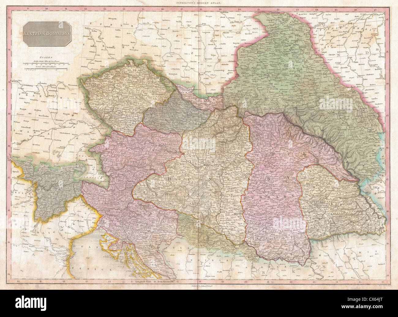 1818 Pinkerton Map of the Austrian Empire - Stock Image