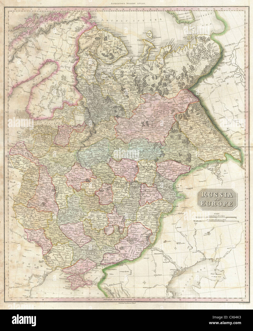 1818 pinkerton map of russia in europe stock image