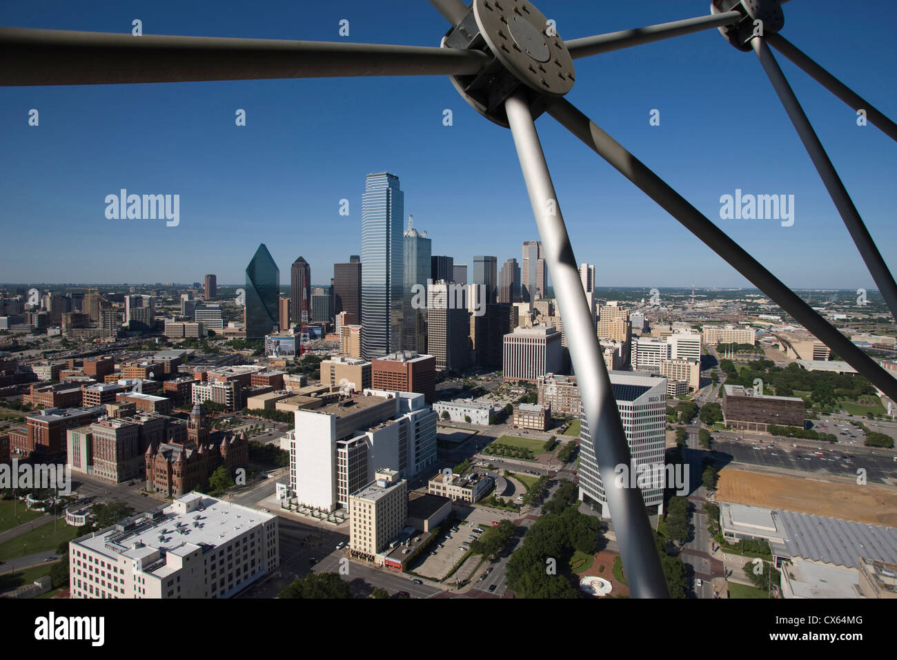 DOWNTOWN SKYLINE FROM REUNION TOWER OBSERVATION DECK DALLAS TEXAS USA - Stock Image