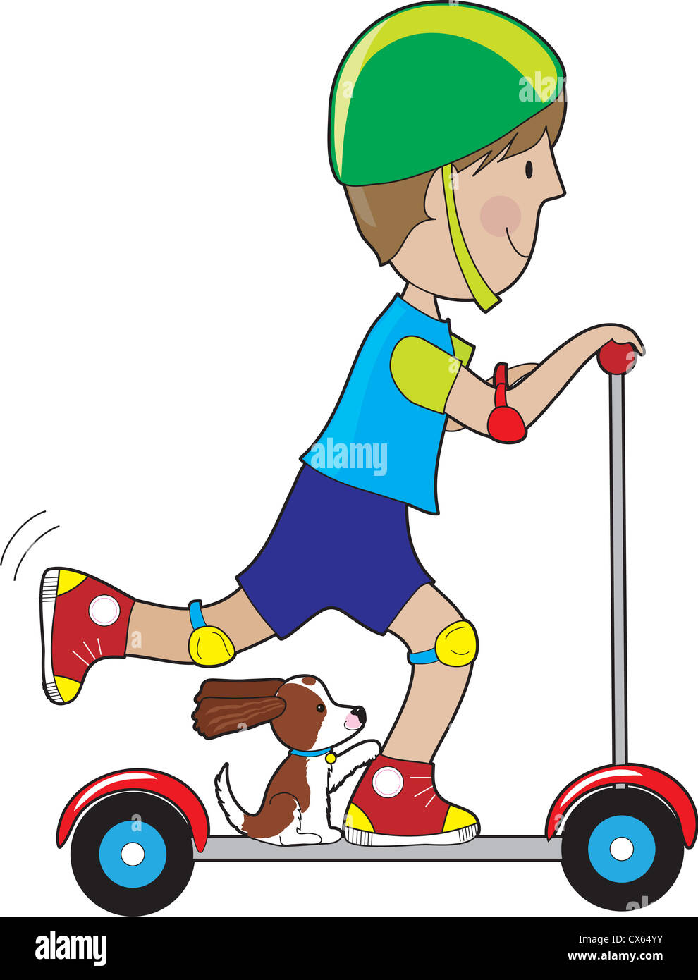 A boy rides his scooter with a pet dog beside his foot, with tail up and ears blowing in the wind. Stock Photo