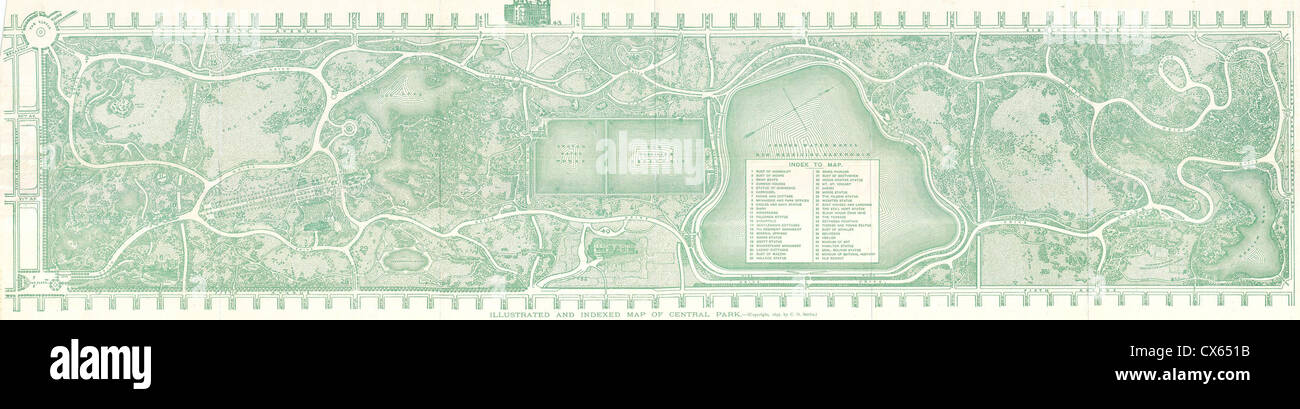 1893 Smith ^amp, Knapp Map of Central Park, New York City - Stock Image