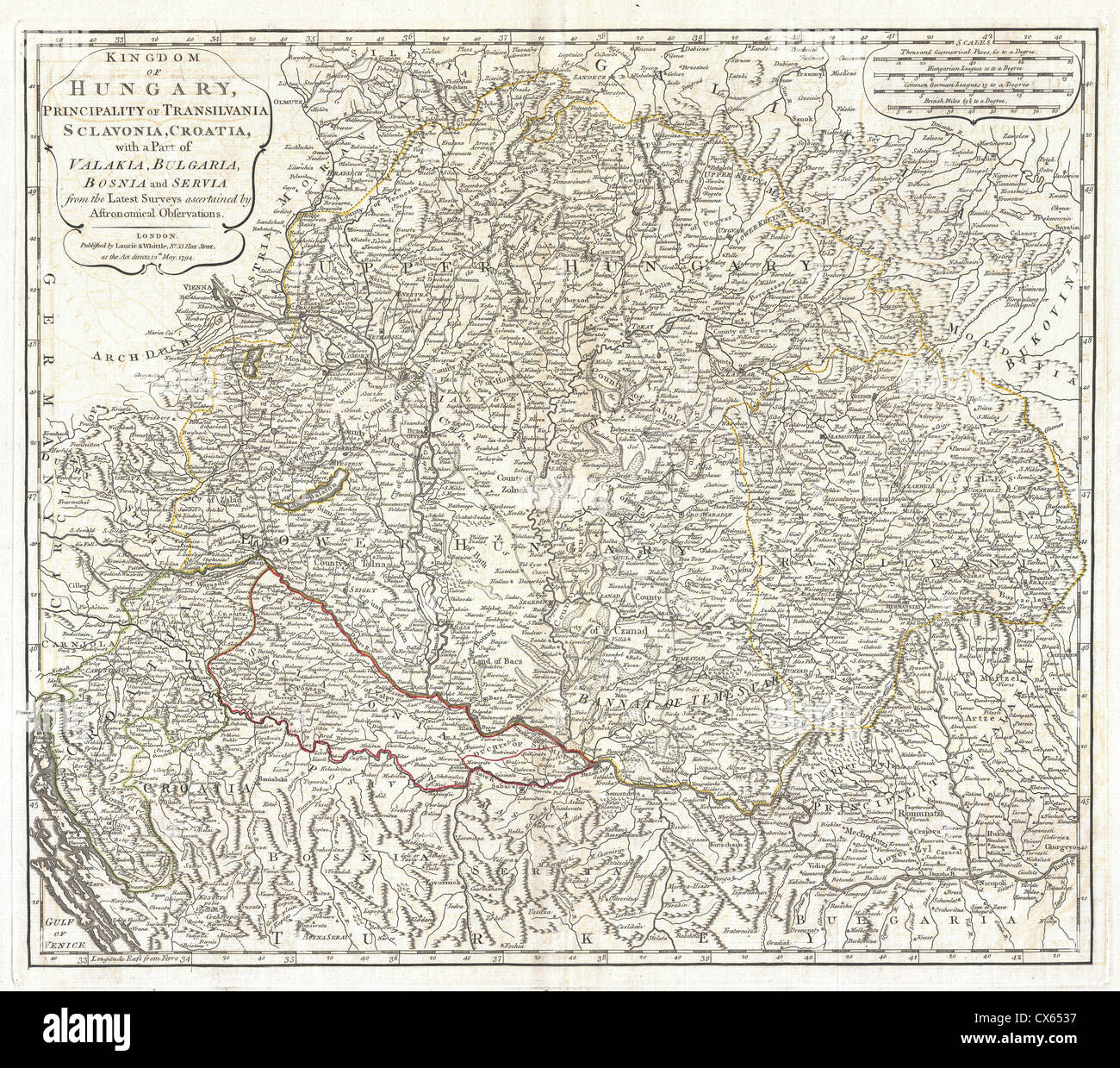 1794 laurie and whittle map of hungary and transylvania stock image