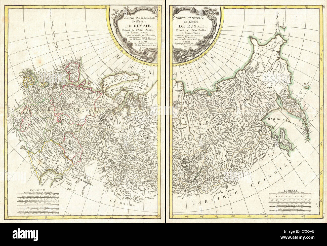 1771 Bonne Map of Russia (2 maps) - - Stock Image