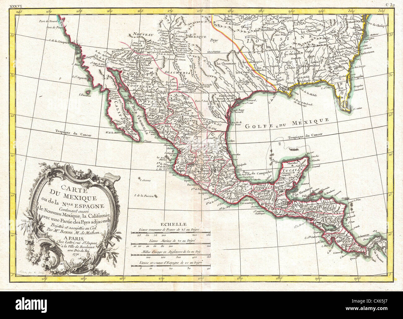 Map Of Texas And Florida.1771 Bonne Map Of Mexico Texas Louisiana And Florida Stock Photo