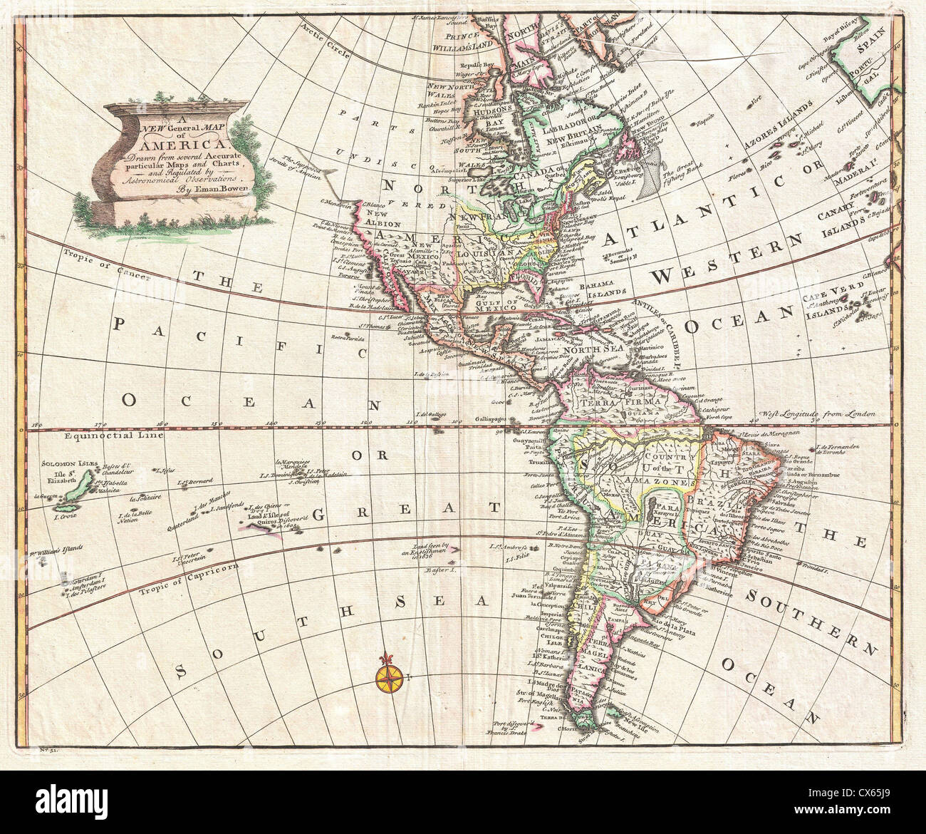 Western North America Map.1747 Bowen Map Of North America And South America Western Stock