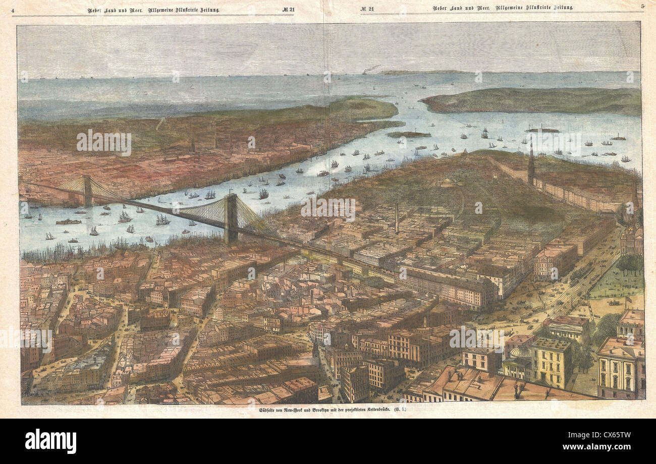 1883 German Map View of Lower Manhattan, the Brooklyn Bridge, and Brooklyn - Stock Image