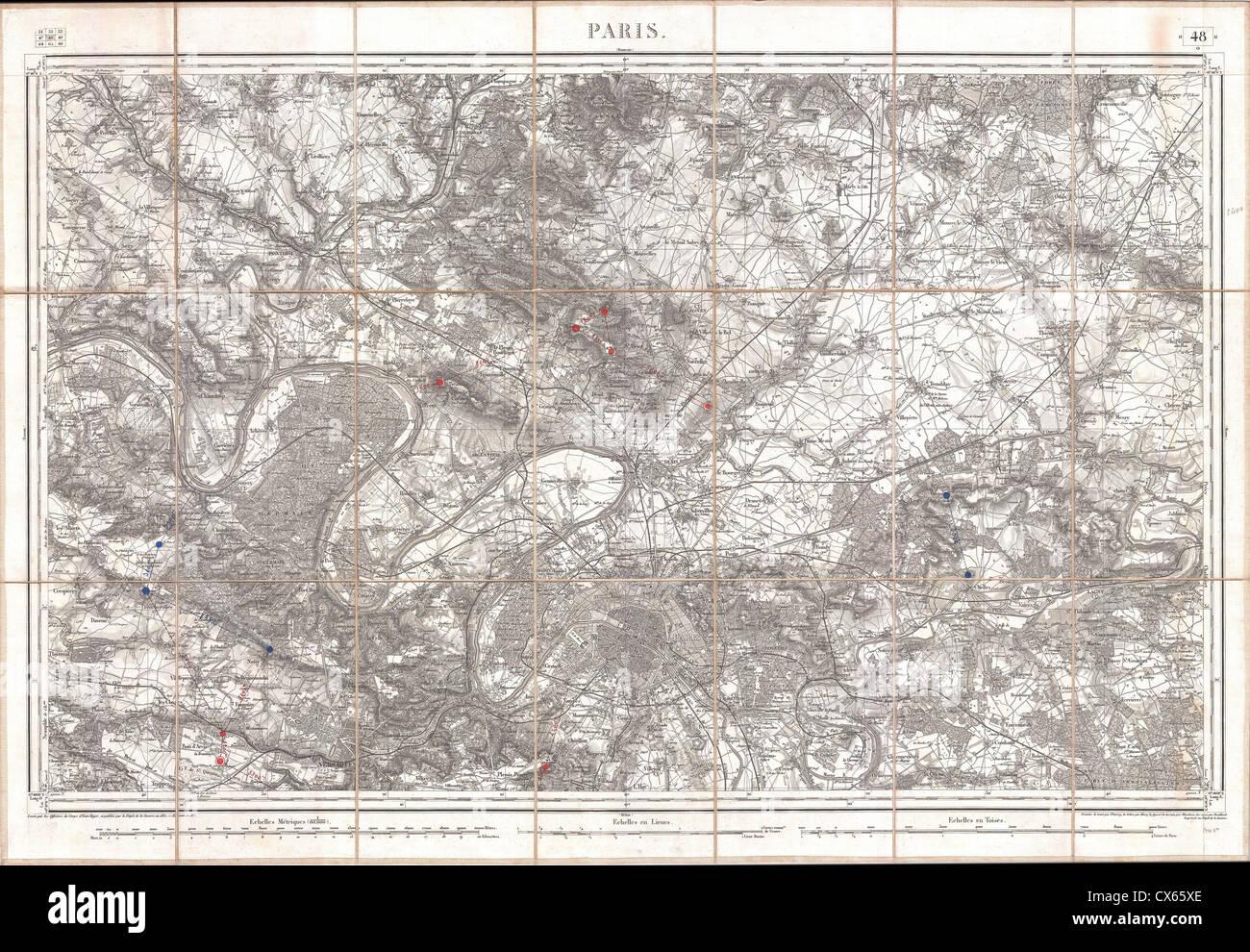 1852 Depot de Guerre Map of Paris and its Environs, France - Stock Image