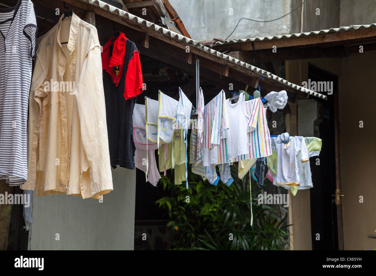 Drying the Laundry in the Old Town of Yogyakarta in Indonesia - Stock Image